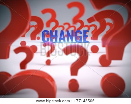 Question and change word - 3d illustration