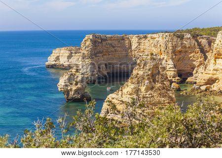 Yellow cliffs at Marinha beach, Algarve Portugal