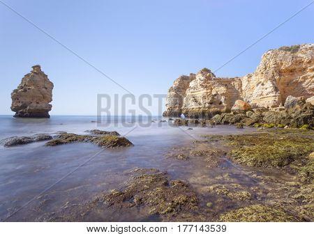 Long exposure at beautiful Marinha beach, Lagoa - Algarve Portugal