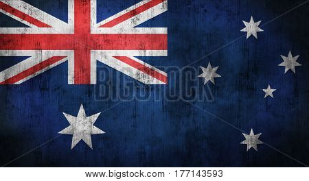 Grunge crumpled Australian flag background with dirt. 3d rendering