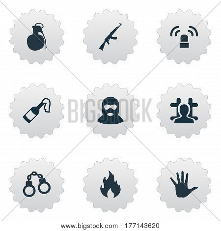 Vector Illustration Set Of Simple Crime Icons. Elements Blaze, M16, Thief And Other Synonyms Bomb, Flame And Chain.