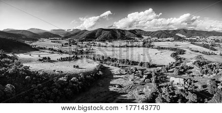 Black And White Aerial Landscape Of Australian Countryside At Sunset.