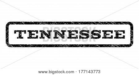 Tennessee watermark stamp. Text tag inside rounded rectangle frame with grunge design style. Rubber seal stamp with unclean texture. Vector black ink imprint on a white background.