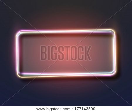Illustration of Vintage Neon Frame. Realistic Vector Neon Sign Icon. Bar Advertising Retro Glowing Neon Frame Template