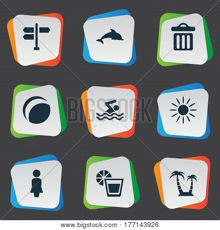 Vector Illustration Set Of Simple Beach Icons. Elements Mammal Fish, Swimming Man, Hot And Other Synonyms Beach, Sea And Dustbin.