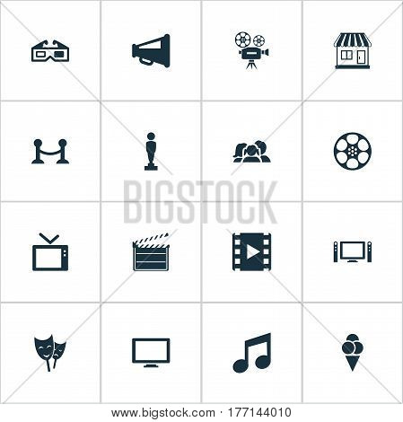 Vector Illustration Set Of Simple Movie Icons. Elements Theatre, Home Cinema, Action And Other Synonyms Clapper, Layout And Rope.
