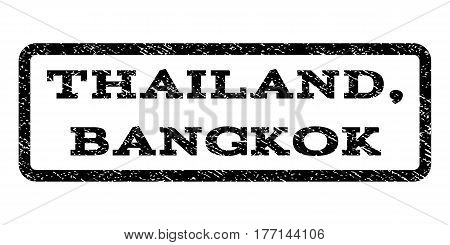 Thailand, Bangkok watermark stamp. Text caption inside rounded rectangle frame with grunge design style. Rubber seal stamp with scratched texture. Vector black ink imprint on a white background.