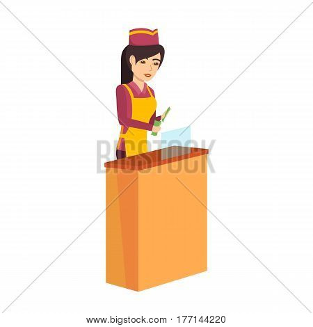 Women's professions. The girl in the seller's branded clothes, considers the odd money at the counter, is engaged in selling and calculating finances. Vector illustration isolated on white background.
