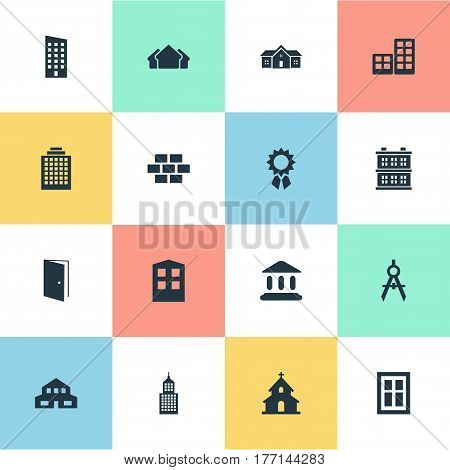 Vector Illustration Set Of Simple Architecture Icons. Elements Block, Floor, Engineer Tool And Other Synonyms Booth, Gate And Compass.