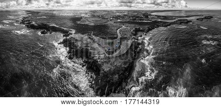 Black And White Aerial Panorama Of Thunder Point Lookout And Warrnambool