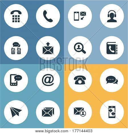Vector Illustration Set Of Simple Contact Icons. Elements House Phone, Posting, Telephone And Other Synonyms Directory, Envelope And Home.