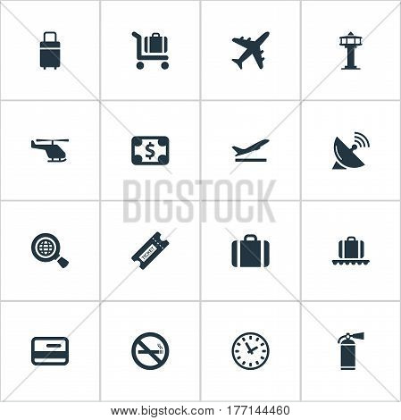 Vector Illustration Set Of Simple Plane Icons. Elements Cigarette Forbidden, Flight Control Tower, Takeoff And Other Synonyms Card, Cart And Dollar.