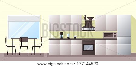 Kitchen and dining room with appliances furniture. Flat style vector illustration.