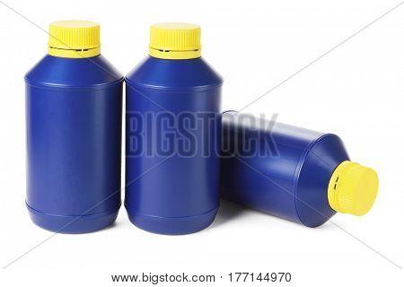Blue Plastic Bottles on White Background