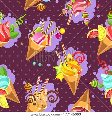 Seamless pattern ice cream cones of whipped cream of different color and taste pieces of marshmallows filled with sweets marshmallows straws on a purple background with dots