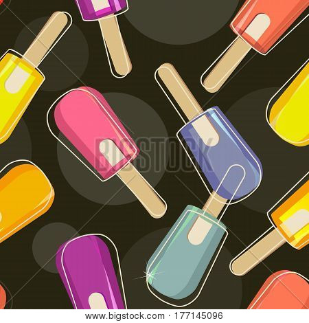 Seamless pattern of fruity ice cream on stick frozen ice juice vector on black background