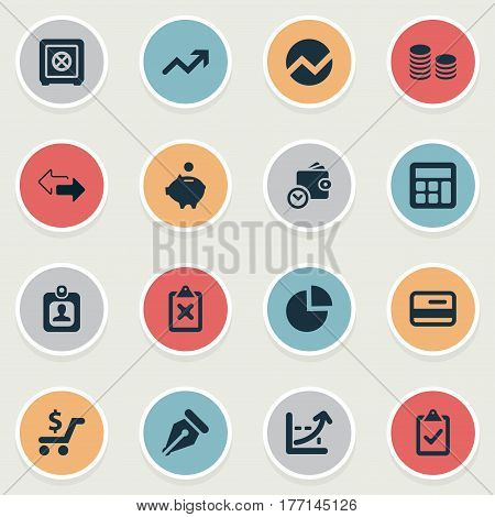 Vector Illustration Set Of Simple Finance Icons. Elements Increase, Segmentation, Strongbox And Other Synonyms Directions, Clipboard And Incorrect.