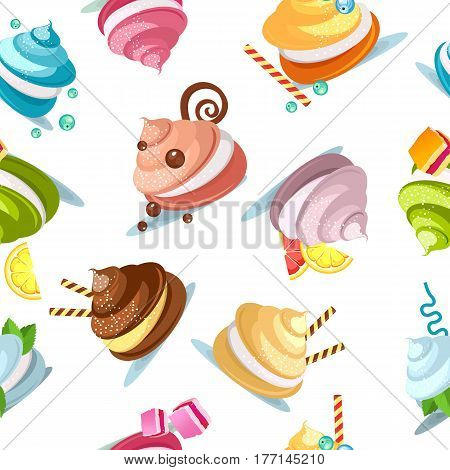Seamless pattern multicolored marshmallows of meringue decorated with chocolate candies on a white background