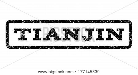 Tianjin watermark stamp. Text tag inside rounded rectangle with grunge design style. Rubber seal stamp with unclean texture. Vector black ink imprint on a white background.