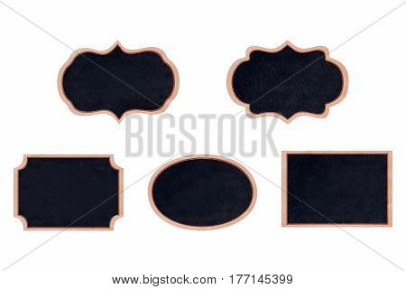 Collection of shape chalkboard wood frame with black surface for message board signs Isolated on white background With copy space for adding more text. (Clipping path included for design work)