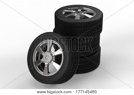 Stack Of Black Tire With Alloy Wheel