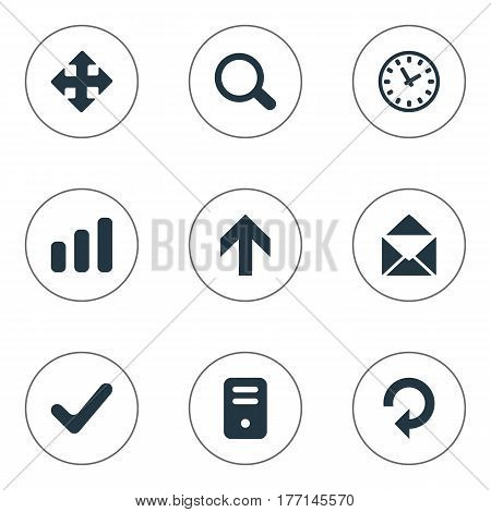 Vector Illustration Set Of Simple Apps Icons. Elements Envelope, Statistics, Magnifier And Other Synonyms Refresh, Enlarge And Check.