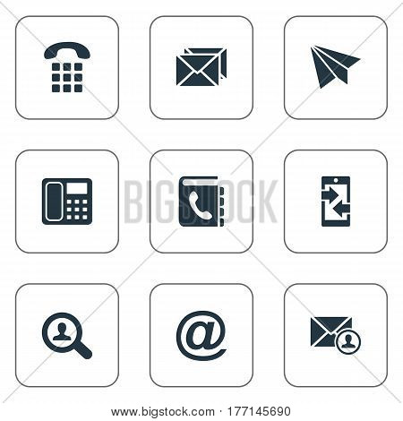 Vector Illustration Set Of Simple Contact Icons. Elements E-Mail Symbol, Intercommunication, Aircraft And Other Synonyms Aircraft, Message And Paper.