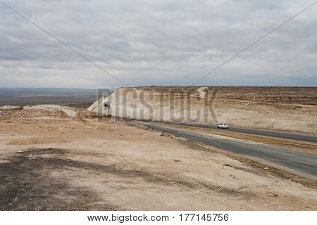 Road in the cavity. Mangystau region. Kazakhstan