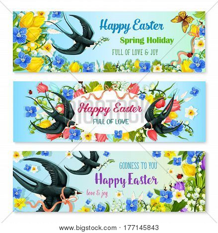 Easter holiday spring flower and bird banner set. Easter floral greeting card with flowers of tulip, lily, narcissus, forget-me-not arranged into an oval frame with flying swallow birds and ribbon