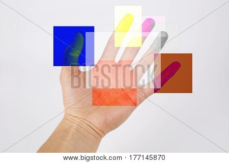 Hand and design concepts on the gray background