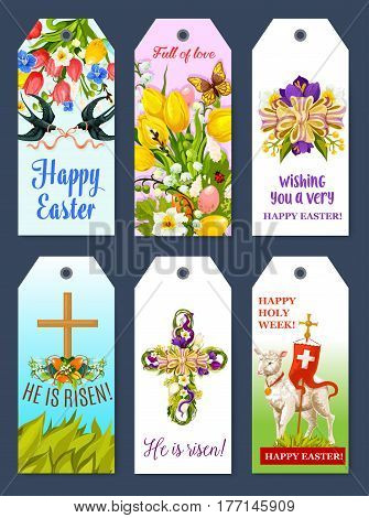 Easter holiday tag and gift label set. Easter egg with flower of tulip, lily and narcissus, Easter cross with spring flowers and ribbon bow, lamb of God, flying swallow bird cartoon banner design