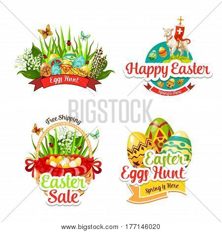 Easter sale icons of paschal eggs hunt in wicker basket, tulip or lily flowers and willow bunch, passover lamb and crucifix cross. Happy Easter religion holiday vector shopping discount isolated set
