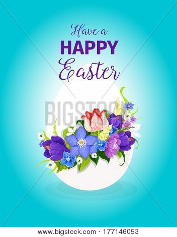 Happy Easter greeting card template of paschal egg and spring floral bunch or flowers bouquet of crocuses tulips, snowdrops and lily. Vector Easter hunt design for Resurrection Sunday religion holiday