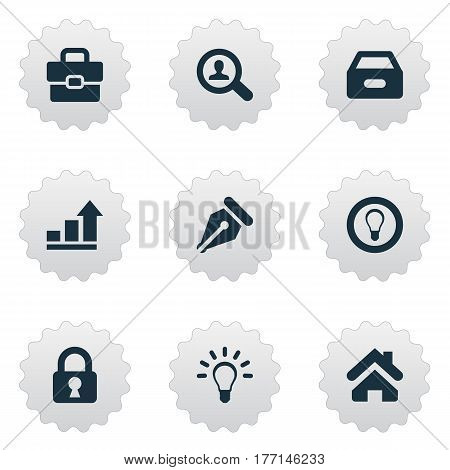 Vector Illustration Set Of Simple Trade Icons. Elements Nib, Home, Dossier And Other Synonyms Mind, Increase And Protected.