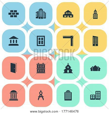 Vector Illustration Set Of Simple Architecture Icons. Elements Popish, Length, Glazing And Other Synonyms Building, Windows And Ruler.