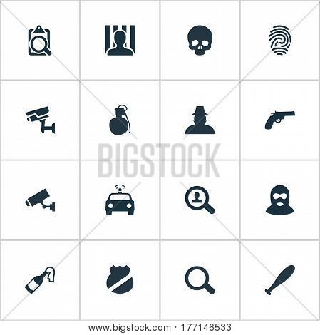 Vector Illustration Set Of Simple Police Icons. Elements Explosive, Identification, Safety And Other Synonyms Bat, Grenade And File.