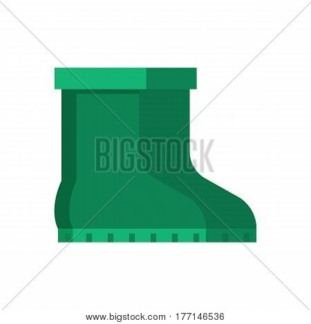 Green garden boots vector icon. Pair of gumboots isolated on white background. Symbol of garden work or autumn rainy weather.