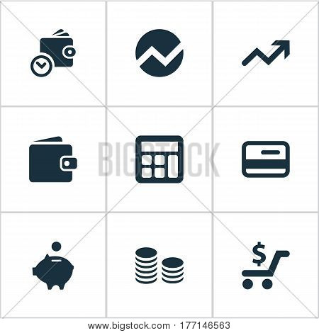Vector Illustration Set Of Simple Banking Icons. Elements Statistic, Rate, Billfold And Other Synonyms Control, Progress And Cash.