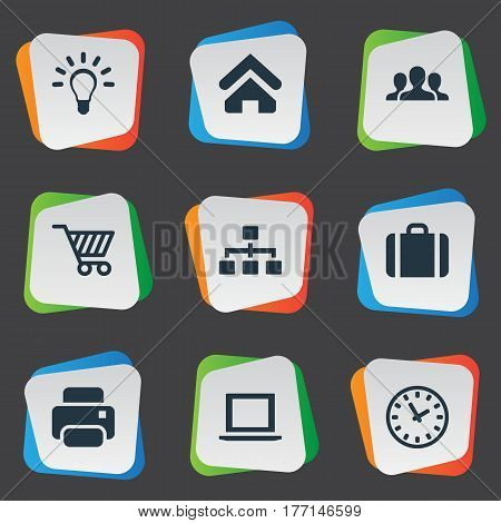 Vector Illustration Set Of Simple Trade Icons. Elements Trading Purse, Relationship, House Location And Other Synonyms Laptop, Relationship And Shopping.