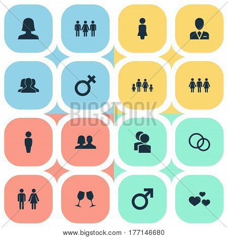 Vector Illustration Set Of Simple  Icons. Elements Mates, Mister, Wineglass And Other Synonyms Lineage, Divorce And Heart.