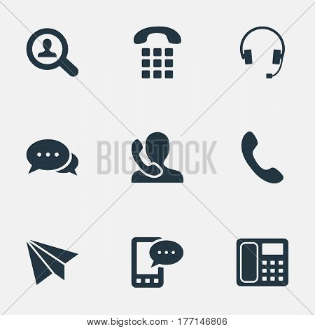 Vector Illustration Set Of Simple Connect Icons. Elements Aircraft, Speaking Human, House Phone And Other Synonyms Speaking, Phone And Postal.