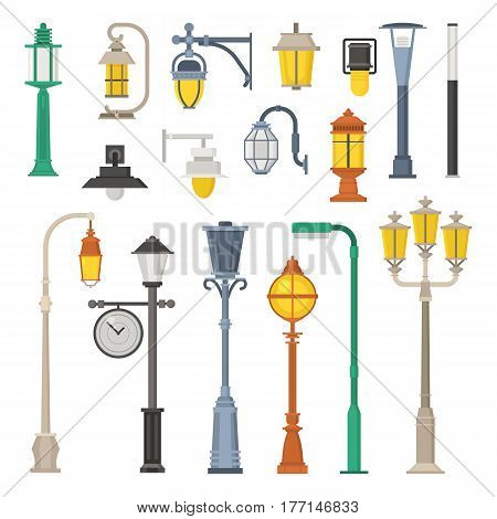 Collection of different street lights and lanterns icons. City lamp post and lamp pole set in flat design. Modern and retro park lightings vector illustrations.