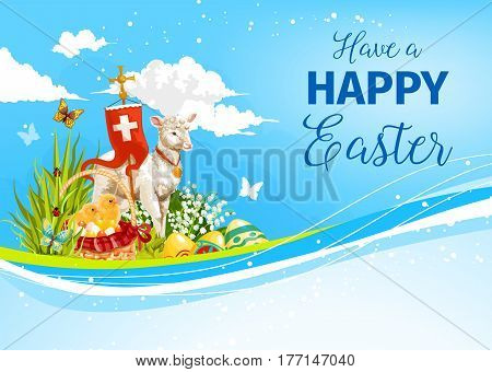 Happy Easter greeting card of passover God lamb, paschal eggs in wicker, holy crucifix cross on flag. Vector Easter design of chicken in willow flowers for Resurrection Sunday religion holiday