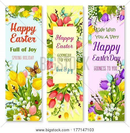 Easter spring flowers greeting banner set. Flower and coloured Easter egg floral bunches with tulip, lily, narcissus, snowdrop, willow tree twig, green leaves, butterfly and wishes of Happy Easter