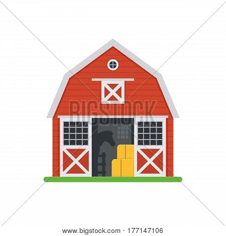 Red horse barn vector illustration. Wooden stables building with opened doors and haystack. Old horse barns isolated on white background.