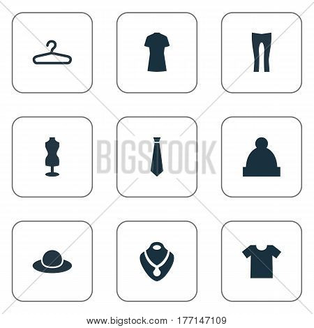 Vector Illustration Set Of Simple Clothes Icons. Elements Rack, Tie, Jewelry And Other Synonyms Headgear, Rich And Casual.