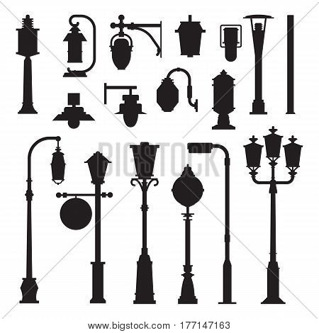 Collection of different street lights and lanterns outline icons. City lamp post and lamp pole silhouettes set in flat design. Modern and retro park lightings vector illustrations.