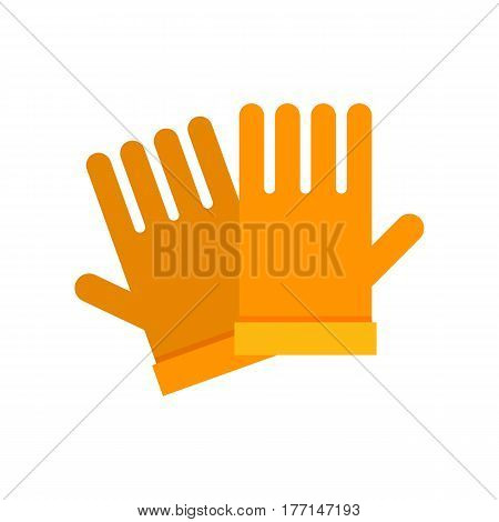 Yellow garden gloves icon. Hand protection wear.