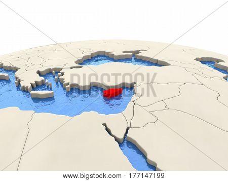 Cyprus On Globe With Watery Seas