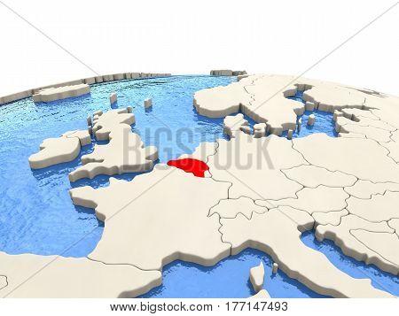 Belgium On Globe With Watery Seas